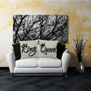 KING AND QUEEN CUSHION COVERS VALENTINE COUPLES PARTNERS WEDDING GIFT LOVERS