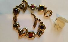 "Patricia Locke 7.5"" Bracelet Antique Gold plate Pewter w/multi stones & crystals"