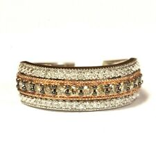 925 Sterling Silver .66ct VS H Champagne Brown diamond wedding band ring 4g