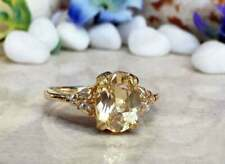 4Ct Oval Cut Morganite Syn Diamond Art Deco Solitaire Ring Yellow Gold FN Silver