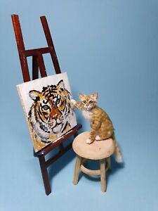 "OOAK Realistic ""Autoportrait"" cat Dollhouse Handmade IGMA ARTISAN"