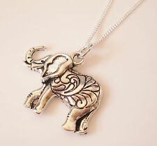 925 Sterling Silver Necklace With Antique Tibetan Silver Elephant Charm Pendant