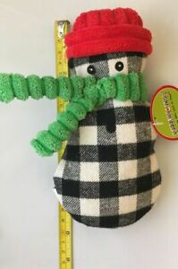 """HUGGLEHOUNDS 7"""" COOKIE CUTTER PLAID HOLIDAY CANVAS & CORDUROY SNOWMAN DOG TOY"""