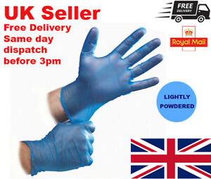 BLUE VINYL Gloves Disposable LIGHTLY POWDERED Latex-Free Multi-Purpose Food Safe