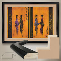 """44W""""x32H"""": GEISHAS by YVES HENRY - JAPANESE DANCE DOUBLE MATTE, GLASS and FRAME"""