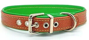 Tan on Green leather dog collar with Yellow stitching