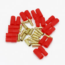 20pcs3.5mm Gold Bullet Banana Connector Plug With Protective Sleeve For Rc
