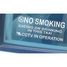 Minicab avvertimento stickers-no smoking,drinking-cab CCTV segni 2 X SMALL 100mm-taxi
