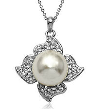 White Pearl White Gold Plated Made with Swarovski Crystal Pearl Necklace N288