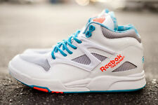Reebok Pump Omni Lite Digi Athletic Casual Shoes White/Vitamin/Buzz Blue Size 8