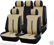 Leder Kunstleder Sitzbezug Sitzbezüge  Sitzschoner   SCHWARZ - BEIGE  #3 Audi