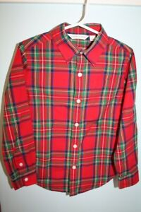 Janie and Jack Size 4 Holiday Collectors Series Red Tartan Plaid Christmas Shirt