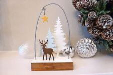 Shoeless Joe Deer in Pastel Wood Christmas Decoration