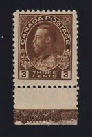 Canada Sc #108 (1918) 3c brown Admiral Type D Inverted Lathework Mint VF NH