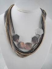 Kenneth Cole silver & gold tone multi-strand~silver tone charm necklace, NWT