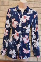 G21 NAVY BLUE PINK FLORAL ALL BUTTONED LONG SLEEVE BLOUSE T SHIRT TOP TUNIC 8 S