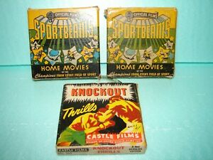 3 - Vintage Castle Films Home Movies - 8 mm w/boxes - Football, Boxing.
