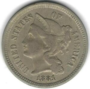 TMM* 1881 Uncertified Nickel Three Cent Piece EF