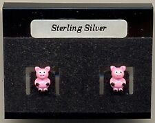 Pink Pig Sterling Silver 925 Studs Earrings Carded