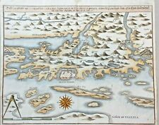 1646 MERIAN ORIGINAL MAP ZARA ZADAR SIBENIK SEBENICO CROATIA COLORED DALMATIA