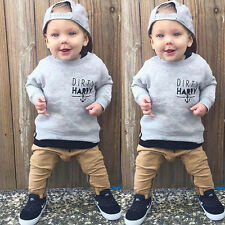 AU 2pcs Newborn Toddler Kids Baby Boys Clothes T-shirt Tops +Pants Outfits Set