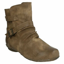 LADIES F50336 ZIP UP CASUAL WINTER ANKLE BOOTS WOMENS FLAT SHOES SIZE SPOT ON