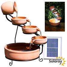 Jug Bowl Water Feature Fountain Solar Powered Cascade Terracotta Outdoor Garden