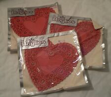 Vintage Royal Lace Paper Works 6� Hearts Red Mip Made in Usa Valentine