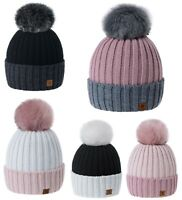 Women Winter Hat Beanie Hats Girls Knitted Fashion Pom Pom Fleece