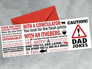 CAUTION! DAD JOKES - Folding funny greetings card - birthday Father's Day Daddy
