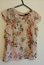 New Look Pink Floral Top Blouse With Birds UK 8 EU 36 Excellent Condition