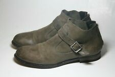 MOMA SHOES BUCKLE FLAT BOOTIES BACK ZIP ANKLE BOOT OLIVE LEATHER ITALY 38