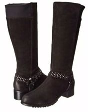 Adrienne Vittadini Trooper Black Suede Studded Harness Boot Size 7.5 New In Box