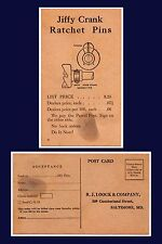 US BALTIMORE R.J. LOOCK AUTO SUPPLIES FORD JIFFY CRANK RATCHET PINS CIRCA 1930