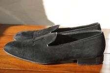 WORN 10X | JOHN LOBB UK 5 US 6 BLACK LEATHER VELVET GROSGRAIN LOAFER SUEDE