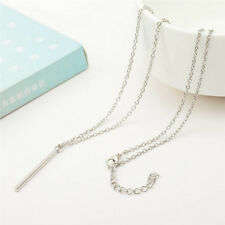 Women Silver Plated Long Chain Lariat Necklace Charm Pendant Necklace Jewelry JC