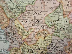 1919 Grande Mapa ~México~ Oaxaca Chiapas Guerrero Durango ~ Inserto Minerales