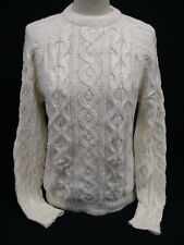Aran Cable Knit Sweater, Chunky Knit Crew Neck Jumper, Small, Wool, 48cm Wide