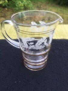 Vintage Glass Lemonade water ice Jug Retro Pub Bar oak leaf decoration