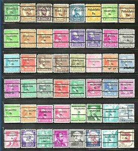 PHILADELPHIA, PENNSYLVANIA Bureau Precancel Stamps Lot of 48