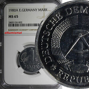 German-Democratic DDR 1980 A 1 Mark NGC MS65 TOP GRADED BY NGC KM# 35.2 (002)