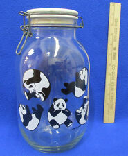 Carlton Clear Glass Kitchen Canister Jar w/ Clamp Seal Lid Panda Bear Vintage
