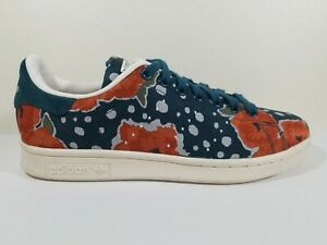 Adidas Stan Smith Originals Sneakers Shoes Women's 8.5 Floral Blue Orange Pink