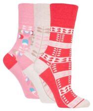 3 Pairs Ladies Gentle Grip Nordic Pink/red/cream Honeycomb Top Socks Sz 4 - 8
