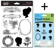 2 Sets Cameo Clear Stamps - Silhouettes, Vintage, Flowers, Frames, Family Tree