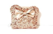 Disney Parks Loungefly Rose Gold Sequined Minnie Mouse Ears Wallet Clutch
