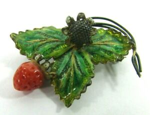 Vtg 800 Silver Plique A Jour Pin 3D Coral Strawberry Leaves By Adriana Alioto
