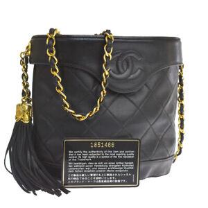 Auth CHANEL CC Matelasse Fringe Chain Shoulder Bag Leather Black 664R405