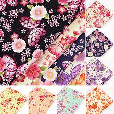 Cotton Fabric FQ Japanese Butterfly & Oriental Sakura Floral Dress Quilting VK54