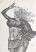 "Supergirl (12""x17"") Original Art Comic Sexy Pinup By Leo Maia - Ed Benes Studios"